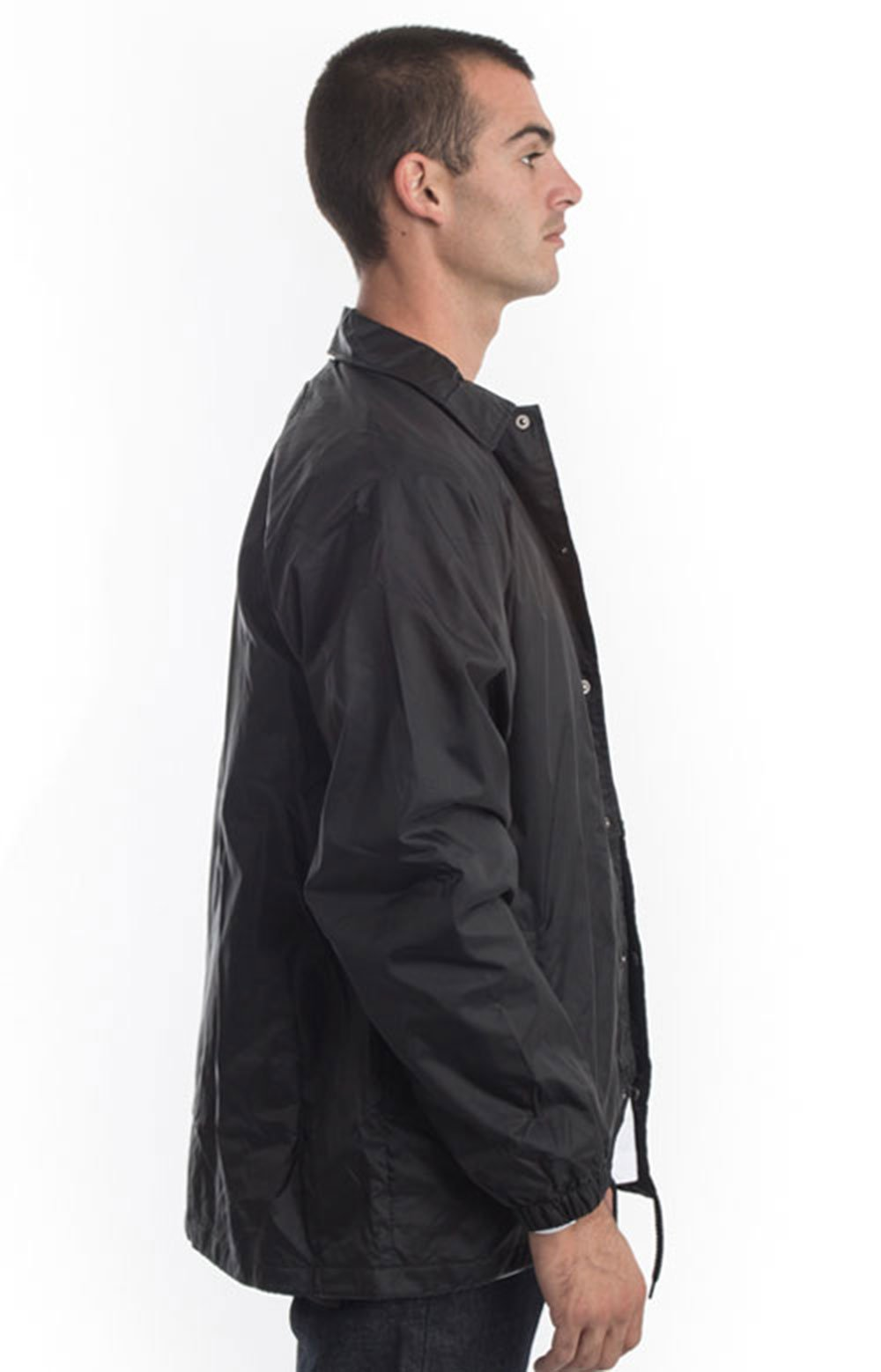 (76242BK) Snap Front Nylon Jacket - Black 2