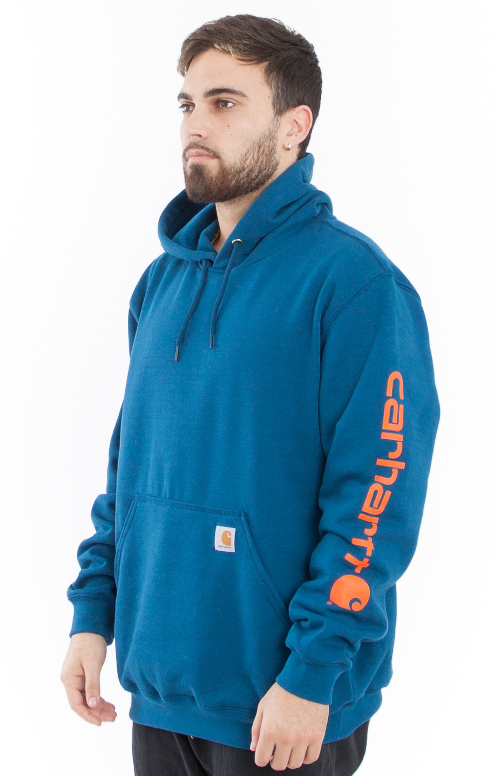 (K288) MW Signature Sleeve Logo Pullover Hoodie - Superior Blue