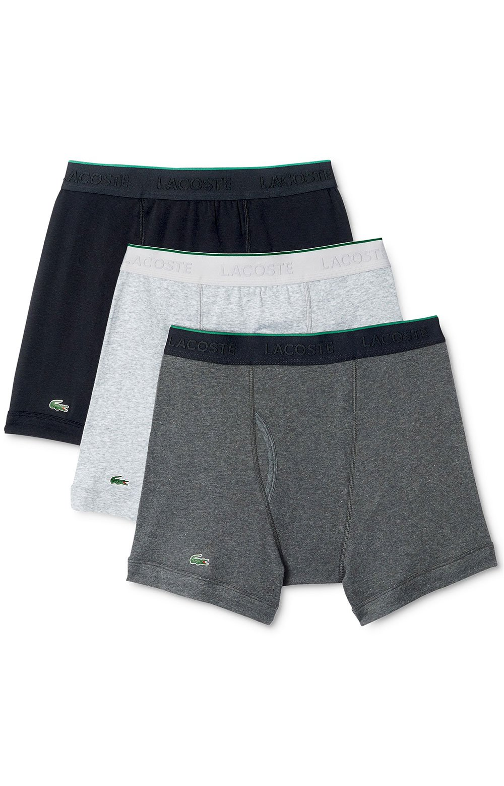 Lacoste (RAMC103) 3-Pack Boxer Briefs - Black/Grey/Charcoal