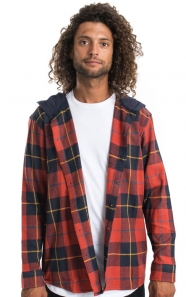 10 Deep Clothing, CB Hooded Button-Up Shirt - Red