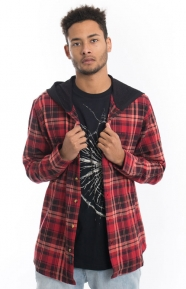 10 Deep Clothing, CB's Hooded Flannel Shirt - Red