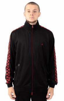 Checkered Flag Track Zip Jacket - Black