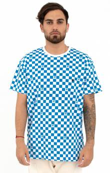 The Void Checkered Printed T-Shirt - Blue