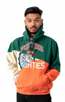 Split Personality Pullover Hoodie - Cream/Forest/Orange