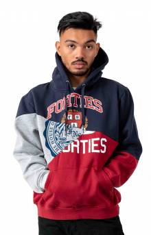 Split Personality Pullover Hoodie - Heather/Navy/Crimson