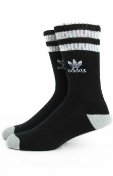 Roller Single Crew Socks (Q18127) - Black/White/Heather Aluminum