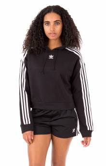 (CY4766) Cropped Pullover Hoodie - Black