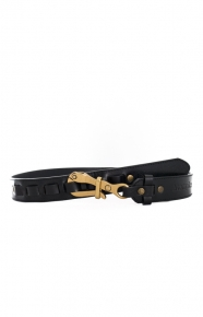 Pelican Belt - Black Leather/Gold Buckle