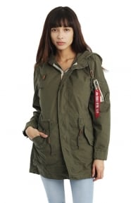 Alpha Industries Clothing, Diplomat Womens Fishtail Jacket - Olive