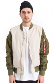 Alpha Industries Clothing, Dragonfly Blood Chit Flight Jacket - White/Jungle Green