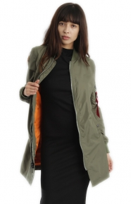 Alpha Industries Clothing, L-2B Long Womens Jacket - Sage