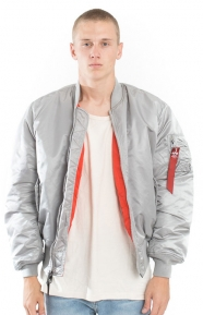 MA-1 Blood Chit Jacket - New Silver/Red