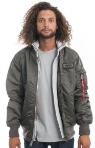 Alpha Industries Clothing, MA-1 D-Tec X Jacket - Replica Grey/Orange