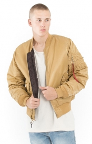 MA-1 Slim Fit Flight Jacket - Camel/Deep Brown