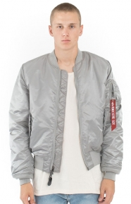 MA-1 Slim Fit Flight Jacket - New Silver/Red Lining