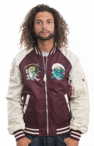 Alpha Industries Clothing, MA-1 Souvenir Shinto Jacket - Maroon/Vintage White/Camel