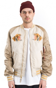 Alpha Industries Clothing, MA-1 Souvenir Tiger Flight Jacket - White/Sand/Mauve