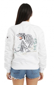 MA-1 Souvenir Tiger Women's Jacket - White