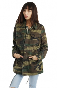 Alpha Industries Clothing, Revival Womens Field Coat - Woodland Camo