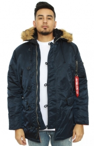 Alpha Industries Clothing, Slim Fit N-3B Parka - Replica Blue/ Orange