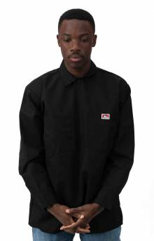 L/S Half Zip Solid Shirt - Black