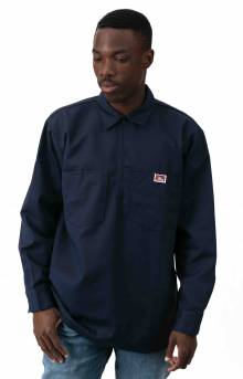 L/S Half Zip Solid Shirt - Navy