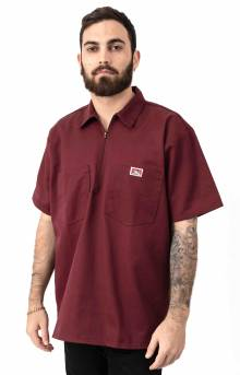 Short Sleeve Solid 1/2 Zip Shirt - Burgundy