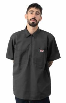 Short Sleeve Solid 1/2 Zip Shirt - Charcoal