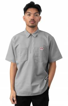 Short Sleeve Solid 1/2 Zip Shirt - Light Grey