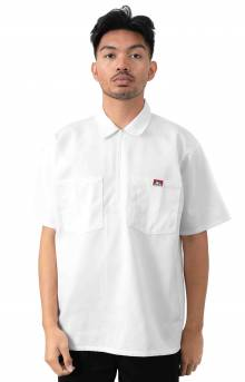 Short Sleeve Solid 1/2 Zip Shirt - White