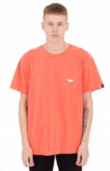 Paper Plane Garment Dyed Pocket T-Shirt - Coral