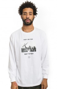 Born X Raised Clothing, Fight Party L/S Shirt - White