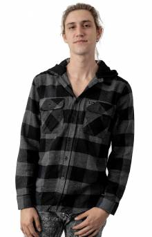 Bowery Hood L/S Flannel Button-Up Shirt - Black/Heather Grey