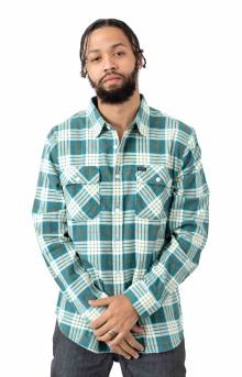 Bowery Lighweight L/S Flannel - Aqua/White