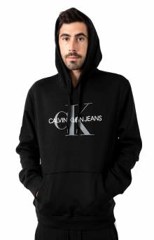 Monogram Logo Fleece Pullover Hoodie - Black