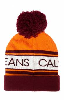CK Logo Pom Beanie - Tiger Orange