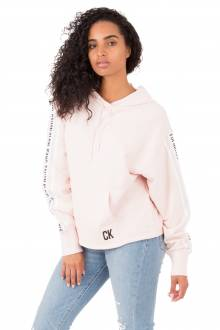 Oversized Logo Tape Cropped Hoodie - Pink