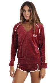 Camp Collection Clothing, Feelin' Good Velour Pullover Hoodie - Maroon