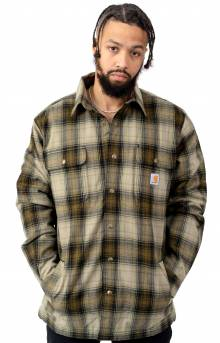 (103821) Hubbard Sherpa-Lined Plaid Flannel Shirt - Military Olive