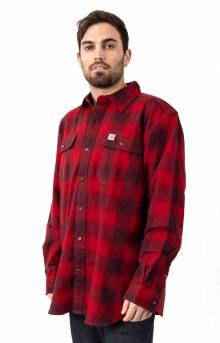 (103822) Hubbard Plaid Flannel Shirt - Dark Crimson