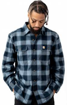 (103822) Hubbard Plaid Flannel Shirt - Steel Blue