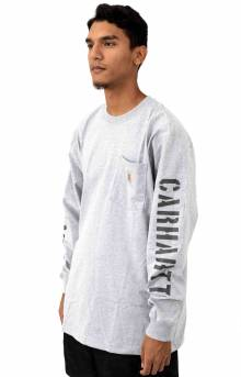 (103845) Workwear Double Sleeve Graphic L/S Pocket Shirt - Heather Grey