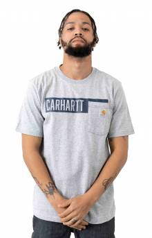 (104180) TK178-M Relaxed Fit HW Pocket Stripe Graphic T-Shirt - Heather Grey