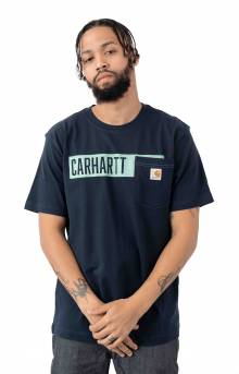 (104180) TK178-M Relaxed Fit HW Pocket Stripe Graphic T-Shirt - Navy