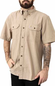 (104369) Original Fit MW S/S Button-Up Shirt - Dark Tan Chambray