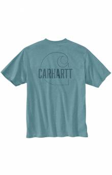 (104611) Loose Fit HW S/S Pocket Carhartt C Graphic T-Shirt - Tourmaline Heather