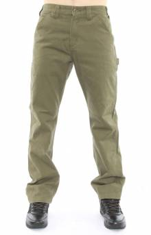 (B324) Washed Twill Relaxed Fit Work Pants - Army Green