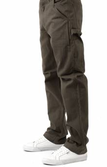 (B324) Washed Twill Relaxed Fit Work Pants - Dark Coffee