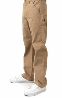 (B324) Washed Twill Relaxed Fit Work Pants - Dark Khaki