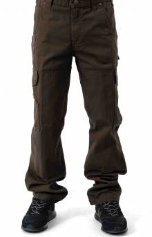 (B342) Cotton Ripstop Relaxed Fit Double Front Cargo Work Pant - Dark Coffee